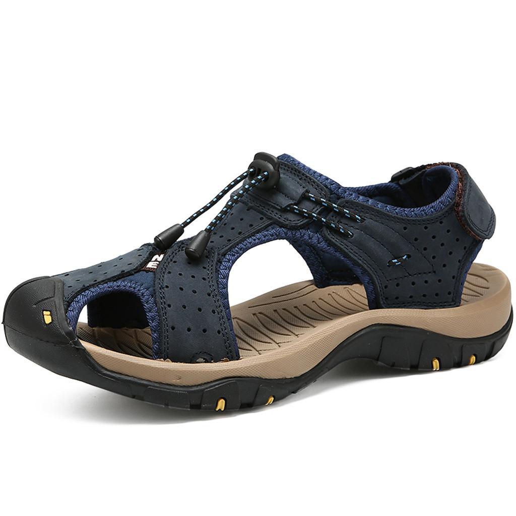 Vogue Men Sandals Summer Men Shoes Breathable Walking Beach Sports Slippers Outdoor men\x27s Shoes Leather Flats Casual Apl23