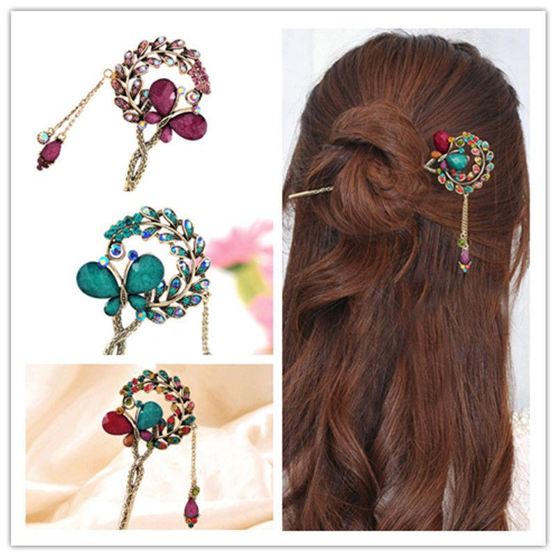 Women Lady Retro Crystal Butterfly Flower Chinese Hairpin Stick Hair Clip C19010501