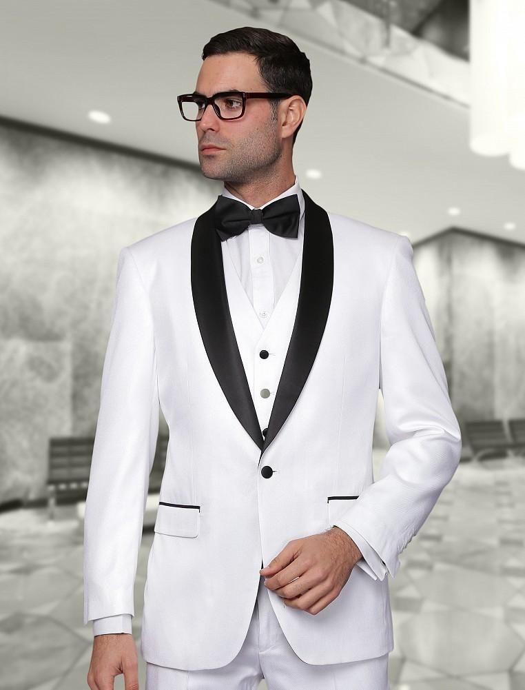 Garçons à la mode châle revers noir marié Tuxedos Blanc Hommes Costumes Mariage / Bal / Dîner Meilleur Homme Blazer (Veste + Pantalon + Cravate + Gilet) B230