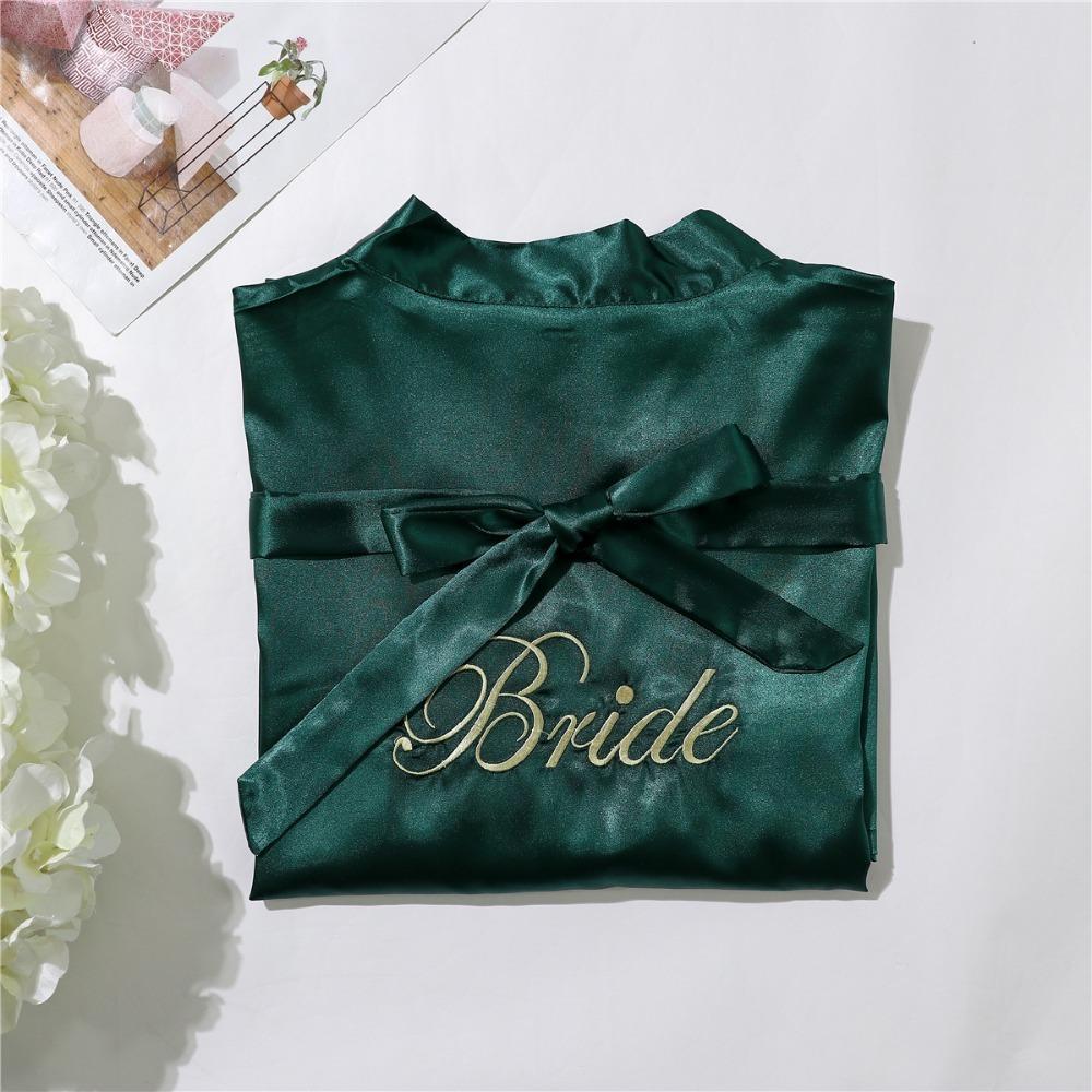 Green Silk Bridesmaid Bride Robe Sexy Women Short Satin Wedding Kimono Robes Sleepwear Nightgown Dress Woman Bathrobe Pajamas Y19042803