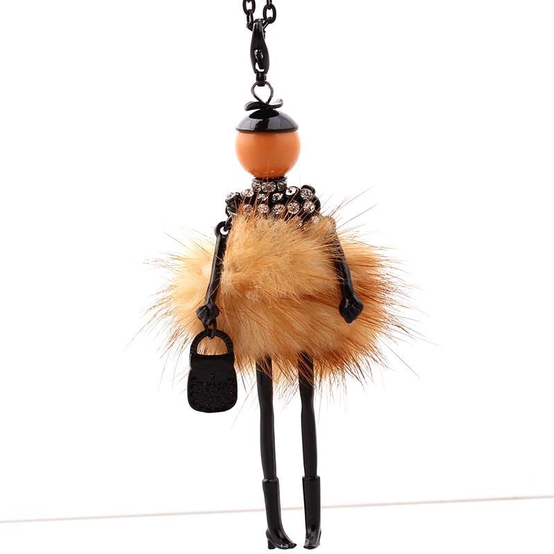 Vestito bello della collana di strass donne bambola lungo maglione catena collana ragazze Pendente Fluffy monili all'ingrosso I trasporti liberi!