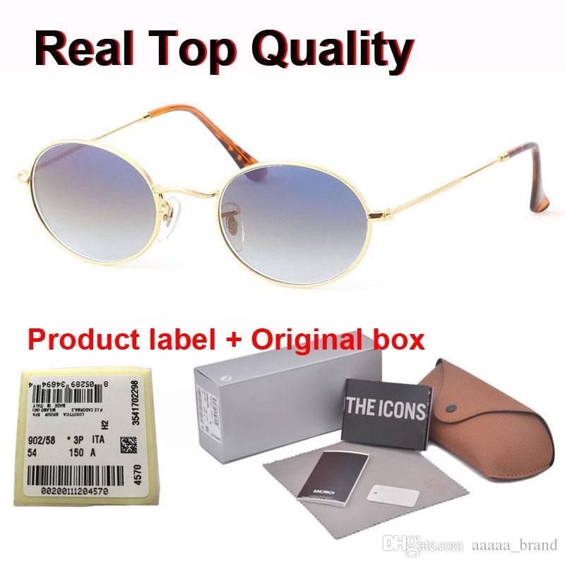 Марка дизайнер 3547 овальных солнечных очков женщин людей градиент Высокого качества металл рамки Стеклянные линзы мода очки очки с розничными делами и коробками