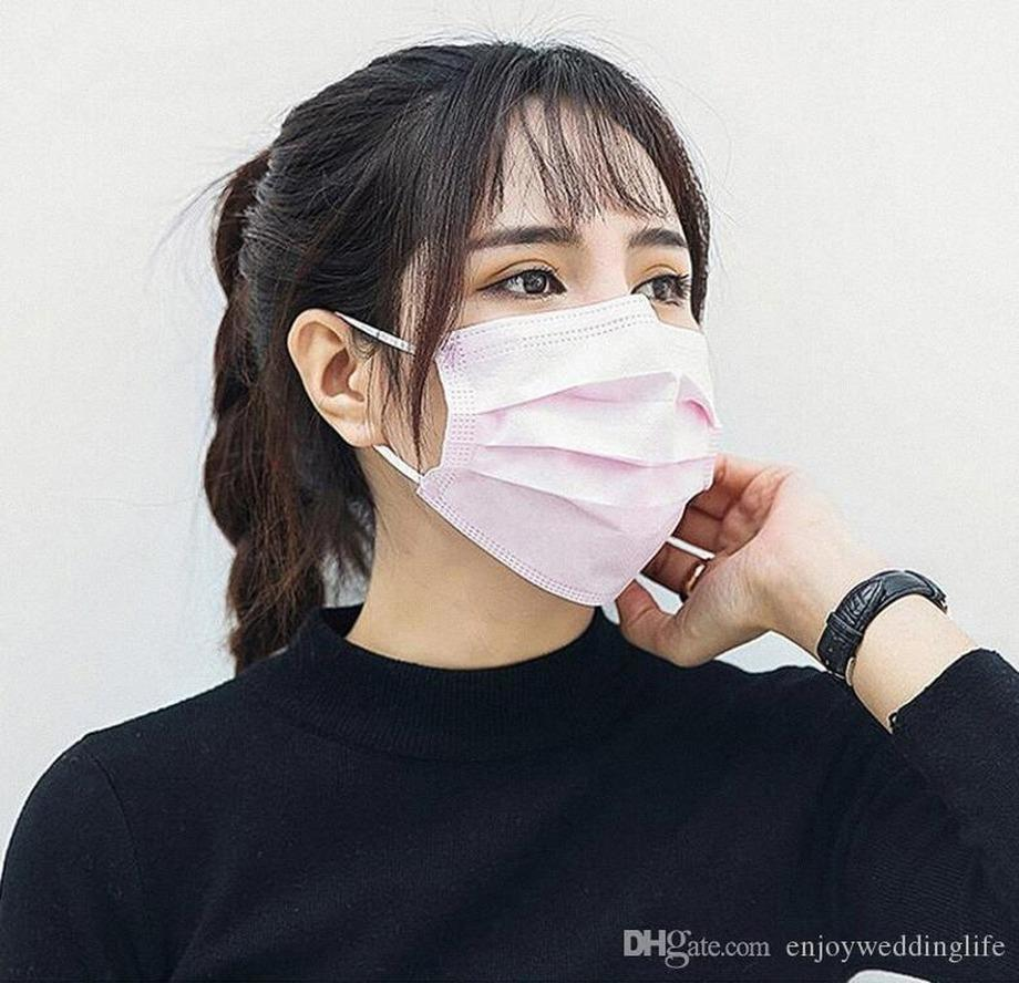 In Stock!Free DHL Shipping!Black Disposable Face Masks 3 Layer Ear-loop Dust Mouth Masks Cover 3-Ply Non
