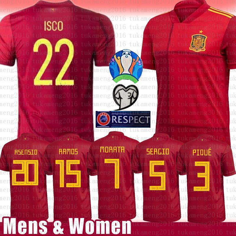 رجل اسبانيا لكرة القدم جيرسي 20 أسنسيو 15 RAMOS 22 ISCO قميص كرة القدم 6 A. INIESTA 21 SILVA 3 بيكيه 9 موراتا موراتا 7 10 تياجو شاول 8