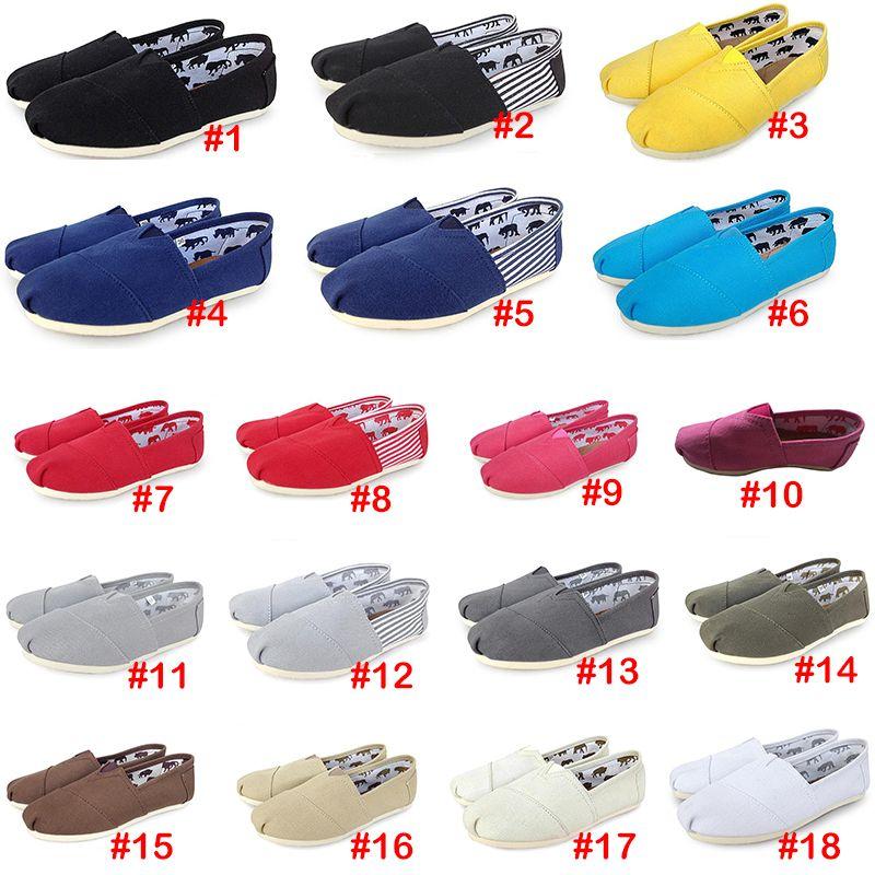 18Colors حذاء رياضة الانزلاق على أحذية كسول عارضة للنساء والرجال قماش موضة متعطل شقق الحجم 35-46 تقليدي حذاء