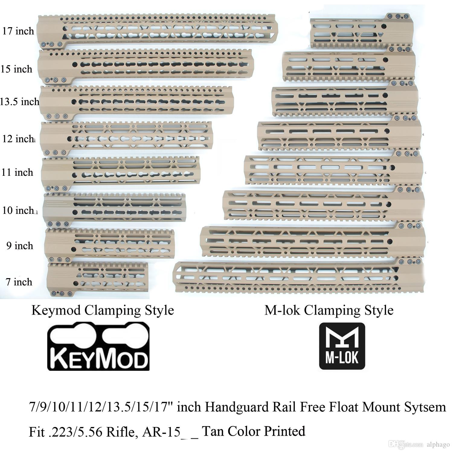 7/9/10/11/12/13.5/15/17'' inch Keymod/M-lok Clamping Style Handguard Rail Free Float Picatinny Mount System_Tan Color Printed