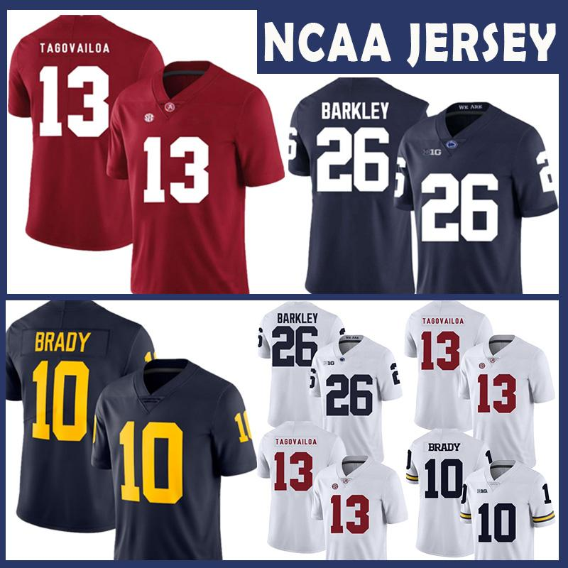Alabama Crimson Tide Faculdade NCAA Jersey 13 Tua Tagovailoa Michigan Wolverines Tom Brady Penn Estado Nittany Lions 26 Saquon Barkley Football
