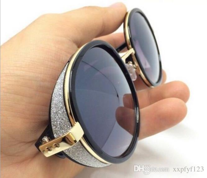 새로운 검은 라운드 금속 프레임 선글라스 안경 안경 반짝이 데코 패션 스타일 그늘 태양 안경 CZ223