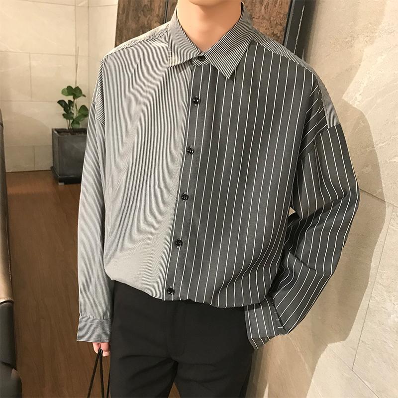 Flaş satışı Kore Yaz Nötr Stil Özlü Usulsüzlük Şık Bölünmüş Ortak Çizgili Gevşek Gömlek Erkekler Erkek Marka Moda Gömlek CJ191206