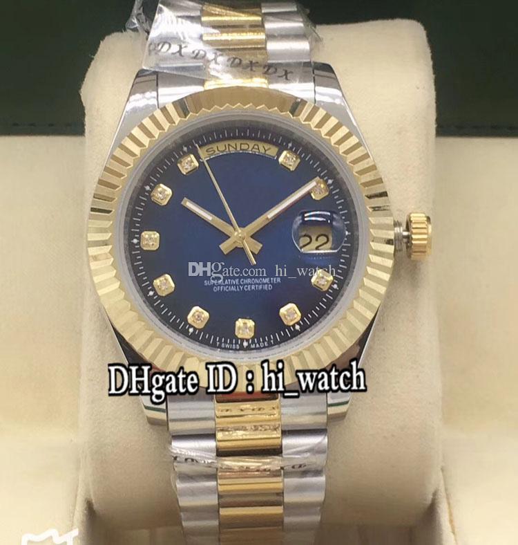 Новый Daydate A2813 автоматические мужские часы рифленый стальной безель синий циферблат буксировочный тон желтое золото Браслет из нержавеющей стали 41 мм часы hi_watch 25b2