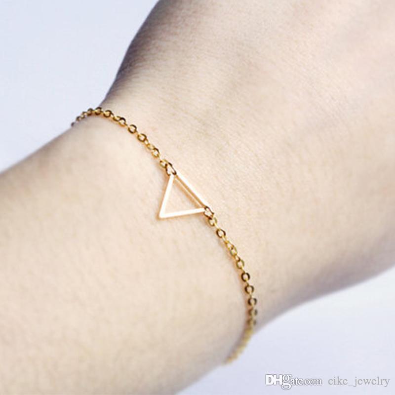 Moda Takı Basit Üçgen Şekli Gümüş veya Altın renk Metal Kaplama Zincir Kadınlar için Bilezik Aşk Hediye