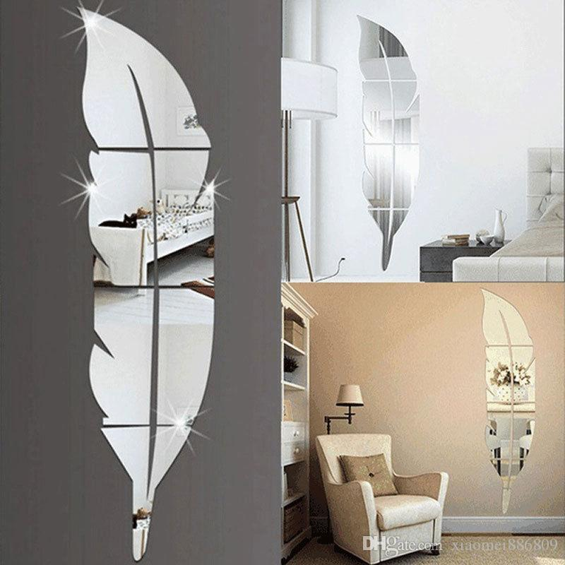 غرفة 3D الريشة مرآة الجدار ملصق مائي جدارية الفن ديكور المنزل DIY 73 * 18CM