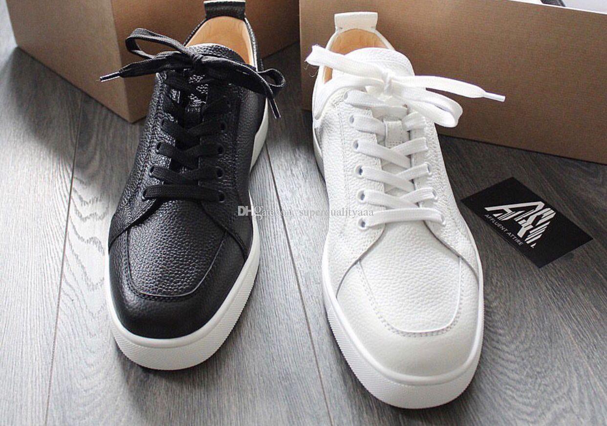 [Original Box] Elegante Designer Mens Red Bottom Sneakers Sapatos Com Qualidade Superior Mulheres, Homem Rantulow Couro Casual Flat White, preto, nu