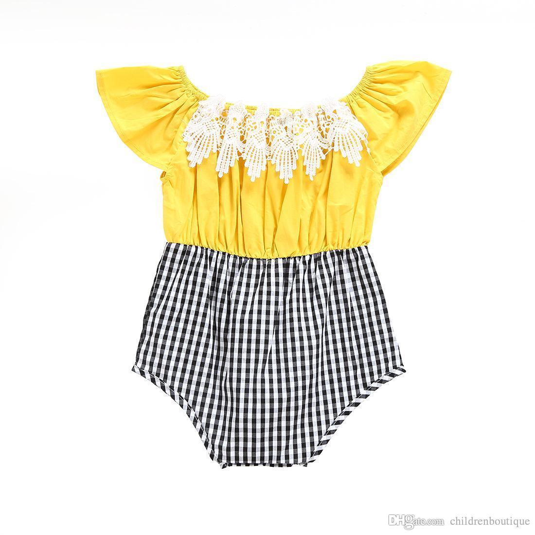 2018 Novo Bebê Meninas Macacão Floral Lace Patchwork Xadrez Romper Infantil Roupas Infantis Meninas Macacão de Algodão Sem Mangas Outfits Sunsuit 0-24M
