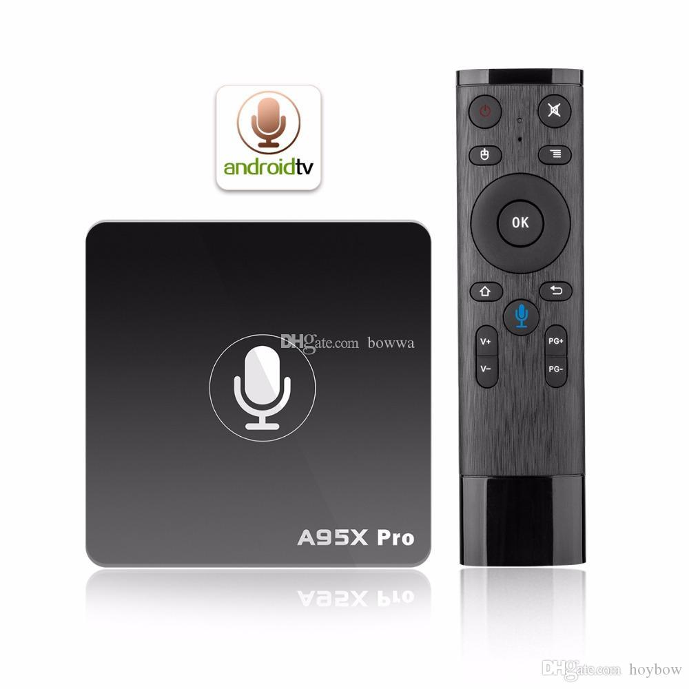 A95X Pro Android 7.1 Smart TV Box Quad Core 2gb RAM 16GB ROM 2.4 G Wifi Android tv Google OS Voice Control Media Player