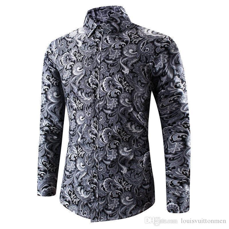 Traditionelle Print Herren Designer-Hemd Homme Langarm-Shirt mit alten chinesischen Muster Mode männlich Cloth