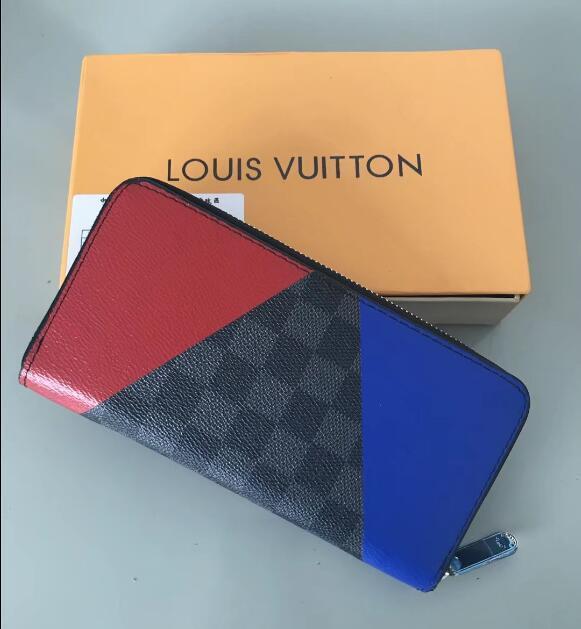 Großhandel 2019 Frau Damen hohe Qualität berühmte 4564 lange Single Reißverschluss echtes Leder Brieftasche Quermustergeldbörse mit Kasten Kostenlosen Versand