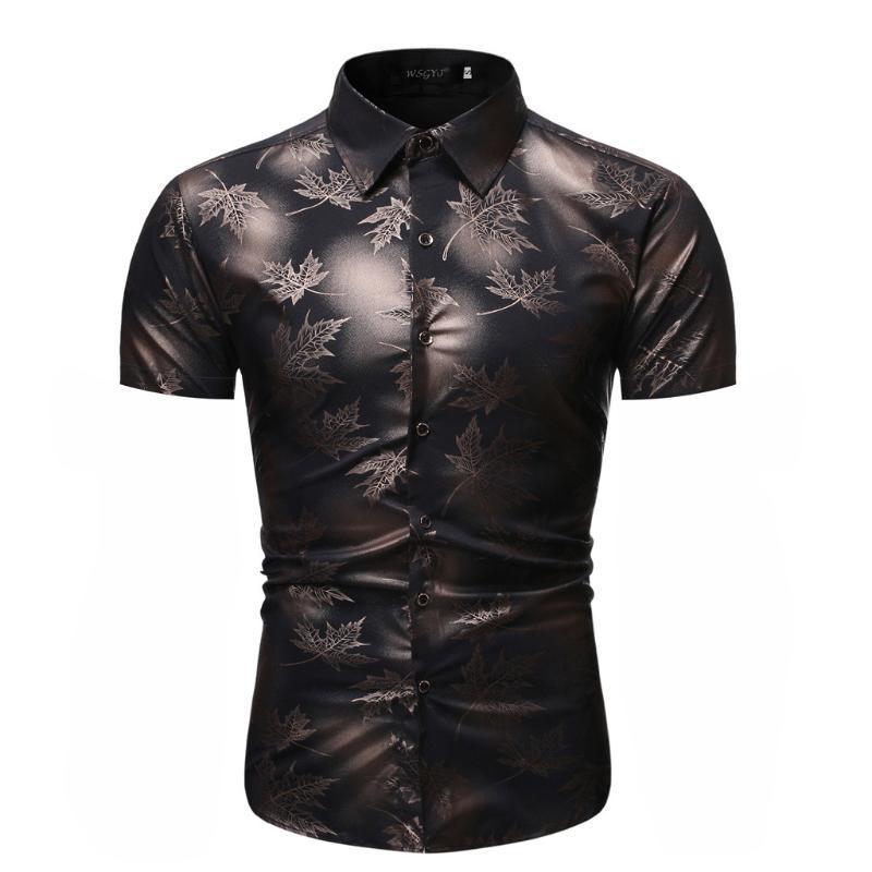Domple Mens Plus Size Slim Short Sleeve Plaid Letter Print Button Down Shirt