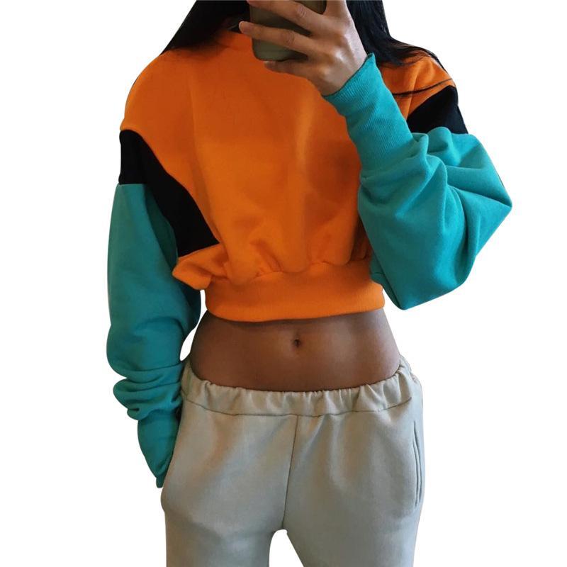 Designer de mulheres FOTOS Roupa REAIS 2020 Mulheres Moda de Hoodies cor doce manga comprida Pullover Casual Moletons Navel Sweater