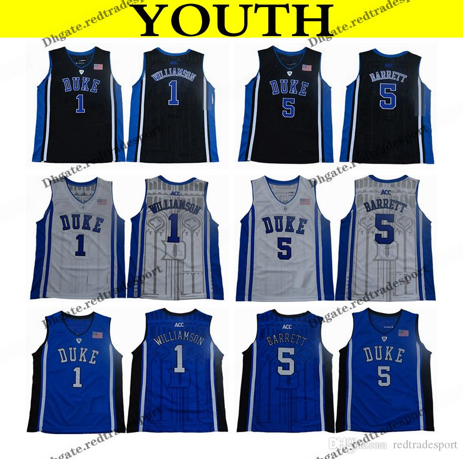 2018 Duke Youth Bleu Devils College Basketball Jersey Boys Zion Williamson # 1 RJ Barrett # 5 Black Kids Basketball Shirts