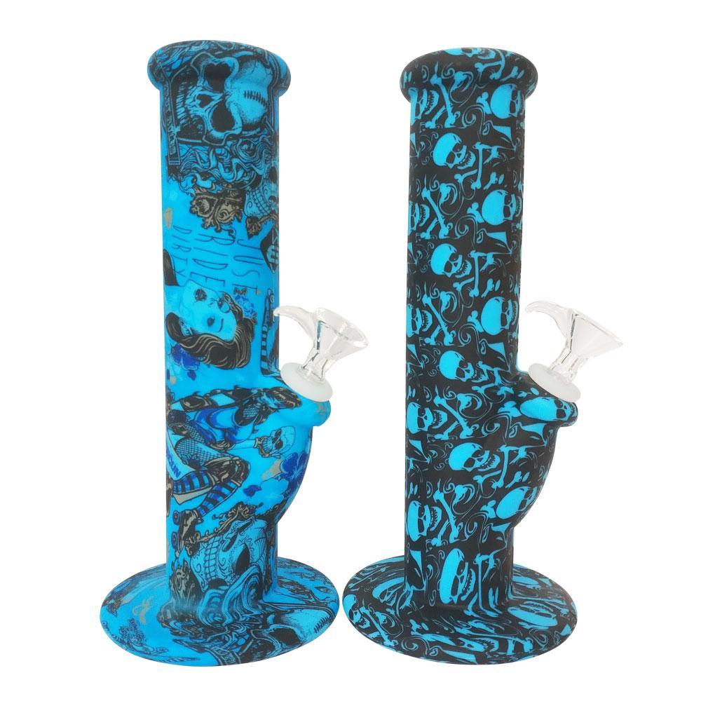 "10"" Silikon Rauchen Bongs Printed Muster Unbreakable Wachs Klekse trockene Kräuter Öl Tobacoo gerades Rohr Wasserrohre mit Glasblumenschale"
