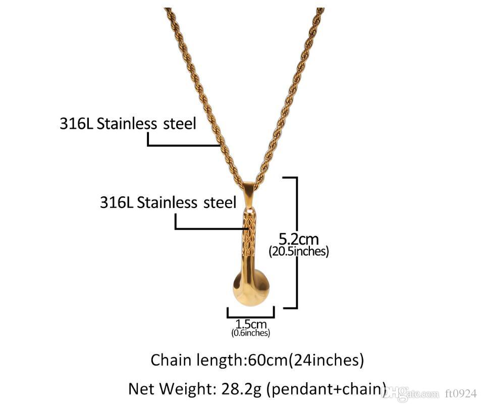 Nuevo diseñador de lujo de acero inoxidable accesorios para auriculares de oro colgante personalidad de moda exquisito exagerado hip-hop Collar accesor