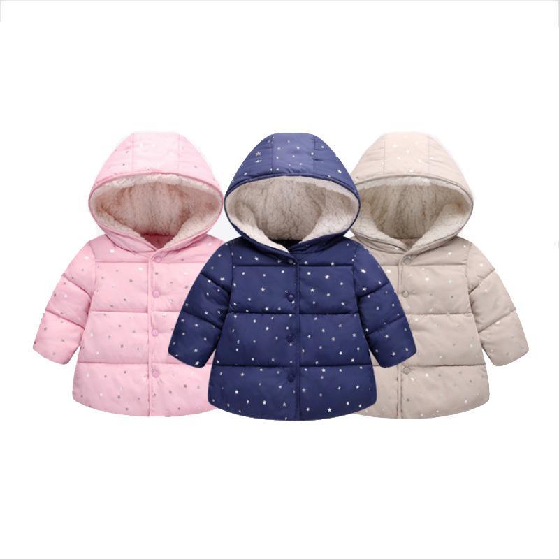 الفتيات سترة أسفل الصلبة أسفل معاطف 3 اللون ستار مطبوعة القطن طويل الأكمام الاطفال بنين بنات في فصل الشتاء سترة الثلج معطف 1-5T