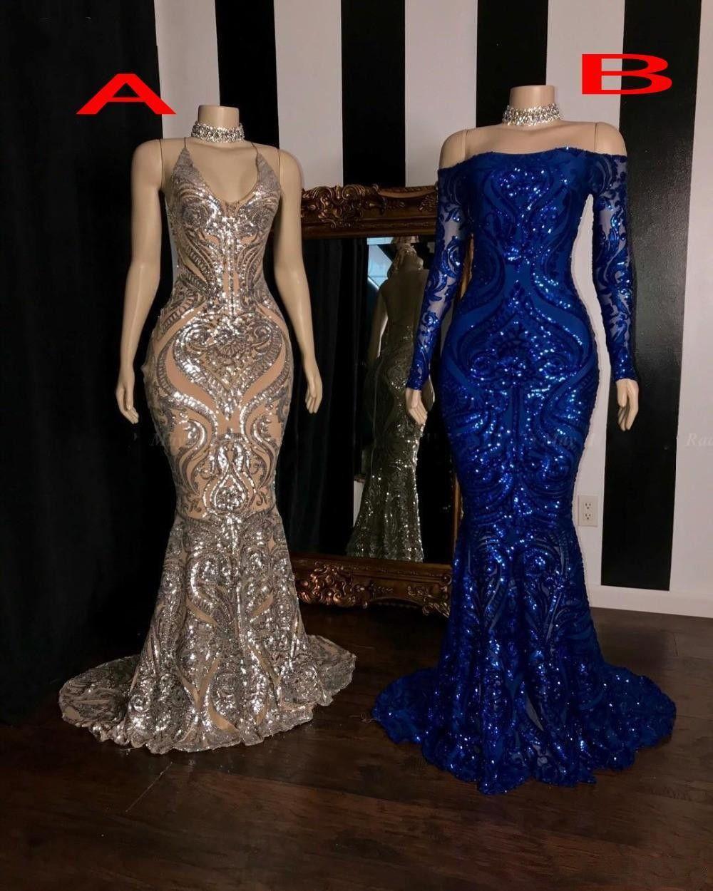 2020 lentejuelas brillantes sirena vestidos de baile de manga larga azul real Tamaño formal graduación del vestido del más vestidos de noche
