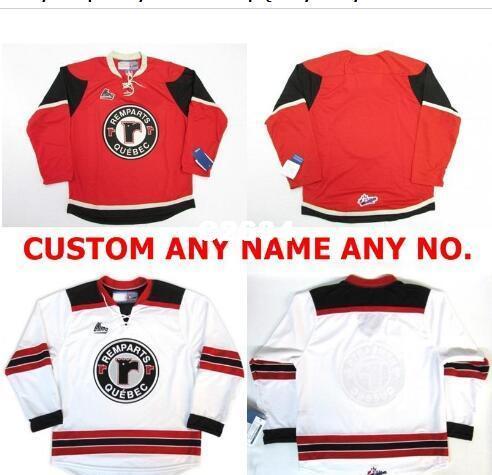 Homens reais bordado real completa # Customize QMJHL Quebec Remparts Jersey Hóquei Vermelho Branco Vintage ou personalizado qualquer nome ou número Hockey Jersey