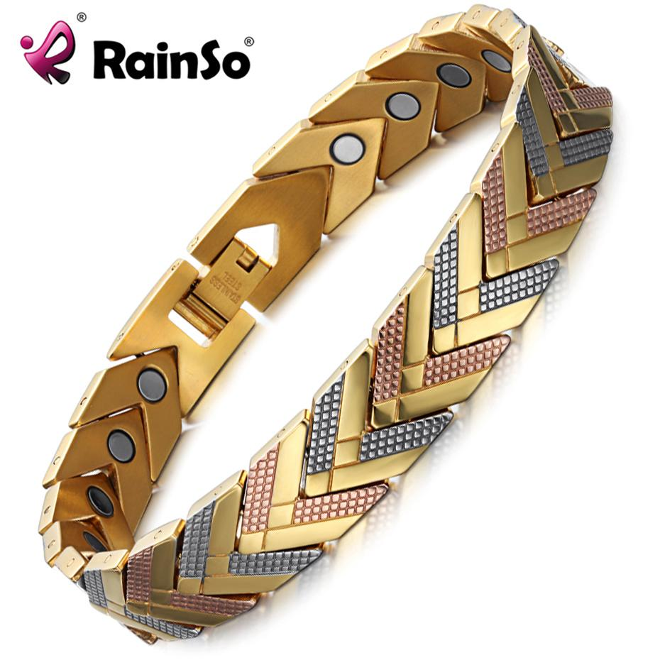 Rainso Health Magnetic Bracelet Bangle For Women Hot Sale Stainless Steel Bio Energy Bracelet Gold Fashion Jewelry S625