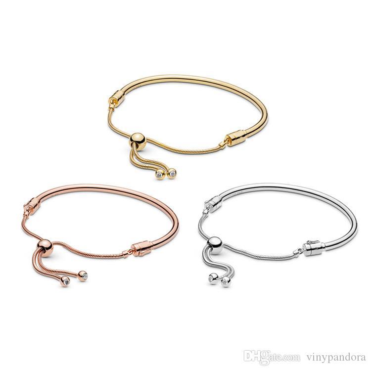 Bracelet jonc coulissant ajusté en argent sterling 925 convient aux bracelets Pandora européens Breloques et perles