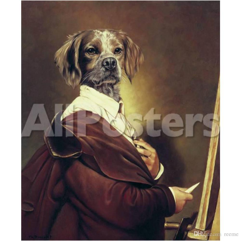 Custom hand painted pet portraits Thierry Poncelet oil paintings Au Portrait art dogs wall decor