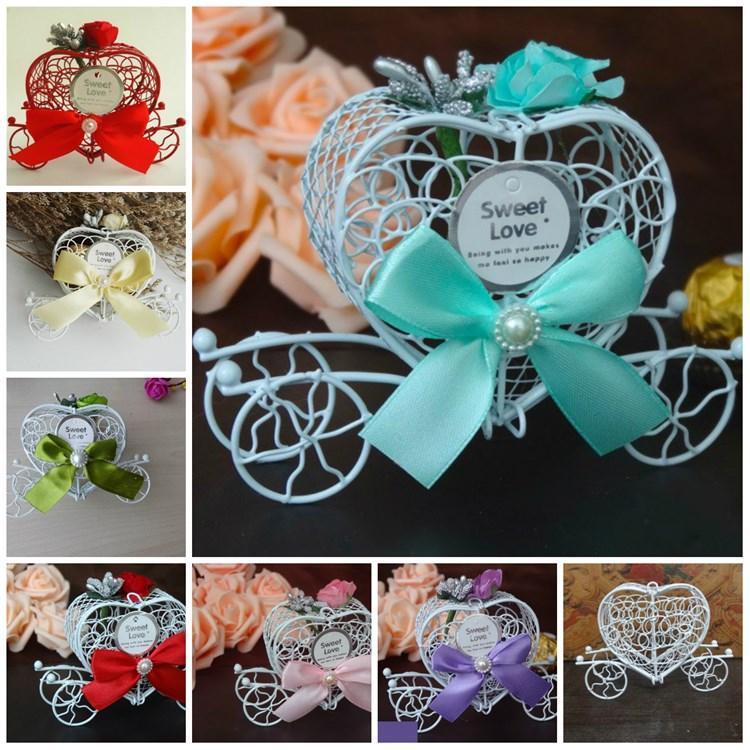 Regalo di natale di moda Metal White Carriage Chocolate Box Principesse festa di compleanno Dolci decorazione della scatola wrap nozze PartyWare T2I5699