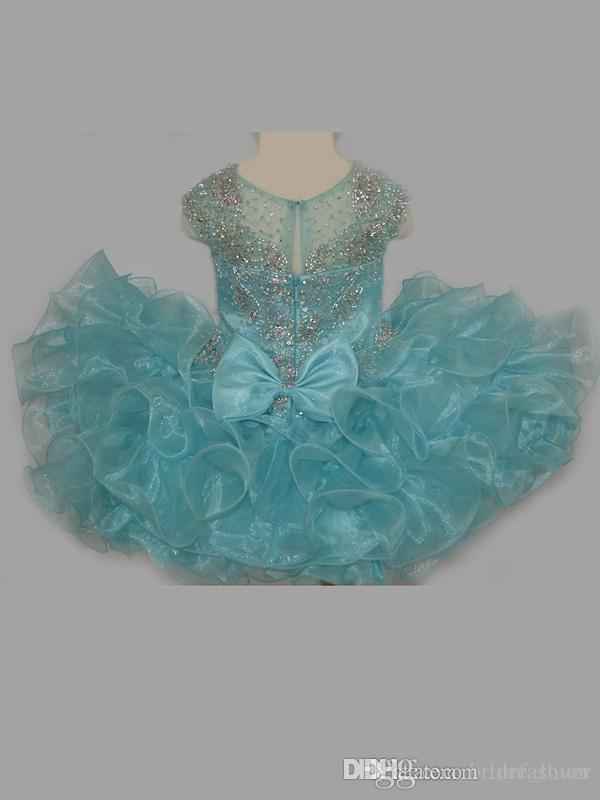 Bling Bling Little Rosie Baby Girls Pageant Dresses 2019 Ruffles 스커트 아쿠아 컵케익 Glitz 유아 미인 가운 캡 슬리브