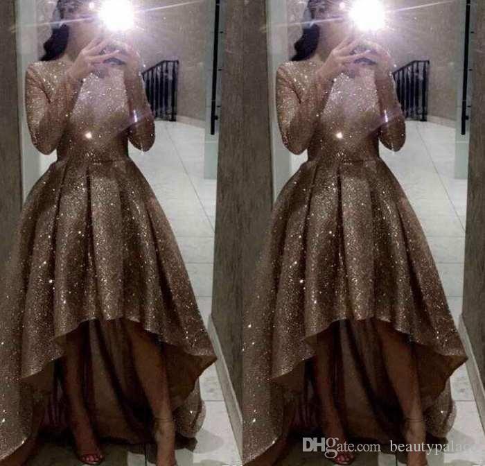 Elegante Reflective mangas compridas lantejoulas uma linha plissados Vestidos Jewel Neck Ruched formal do partido de Alta Baixa Vestidos de baile Vestidos de soirée