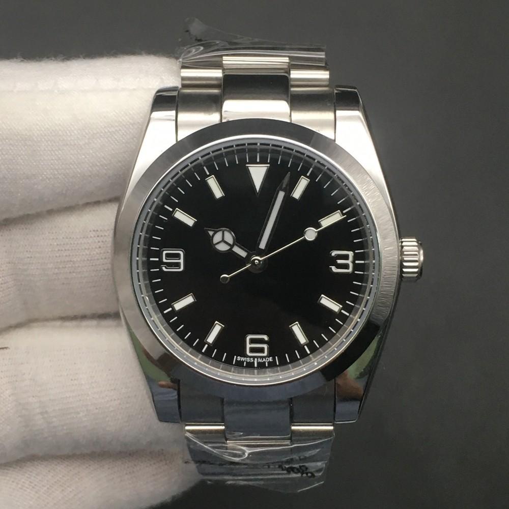 High Quality Explorer, 214270 Часы Мужчины 39мм Наручные часы черный циферблат Movement браслет из нержавеющей стали 2813 подарок