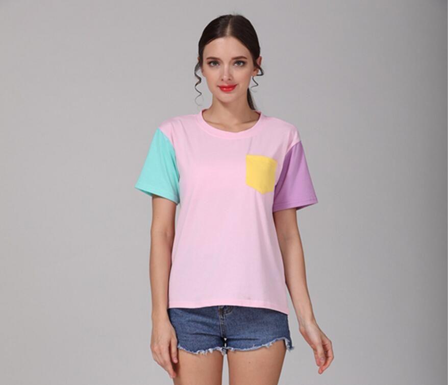 nuova estate di tasca allentata patchwork T-shirt a maniche corte CX200619 femminile