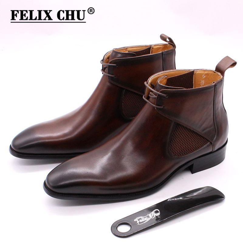 Felix Chu para hombre botas de cuero liso pies cuadrados de cuero de becerro arranque mano pintada marrón mano de encaje negro hasta botines