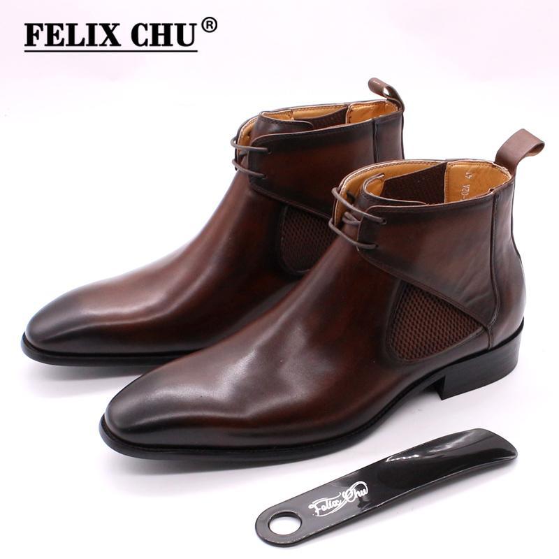 Felix Chu mens botas de couro simples quadrado toe bezerro bota de couro marrom mão pintadas rendas artesanais preto até botas de tornozelo