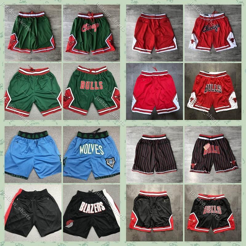 Authentique Juste Don Pocket Shorts ChicagoBullsShorts MinnesotaTimberwolves PortlandPisteBlazers Basketball Shorts2