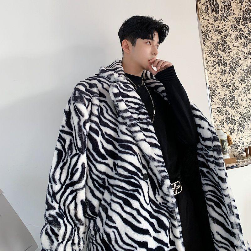 Hiver Thicken Zebra Imprimer Manteau Survêtement Hommes Mode Hommes Coton Parka Manteau Hommes Streetwear caraco sauvage Vêtements pour hommes