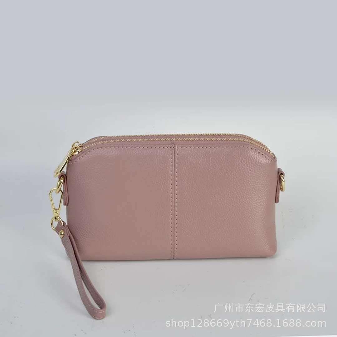 Pop2019 Hong Dong Woman Joker Small Square Package Genuine Leather Zipper Women's Singles Shoulder Satchel Double Bag