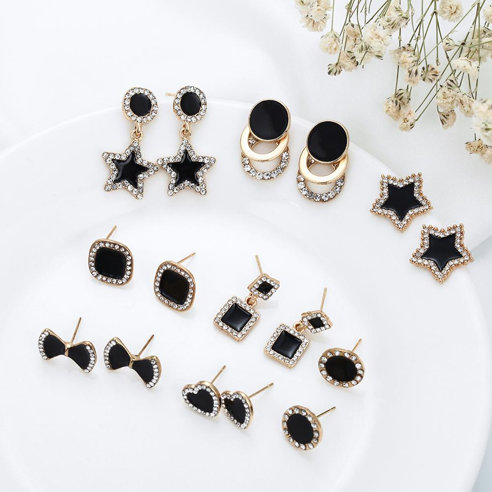 Yeni Trendy Mini Kız için Saplama Küpe Siyah Renk Geometrik Kulak Takı Yuvarlak Yıldız Güzel kristal Saplama Küpe Hediye Takı