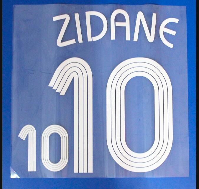 2006 Frence Milli takımı # 10 ZIDANE Retro futbol Nameset Baskı Futbol Oyuncu font nameset yama