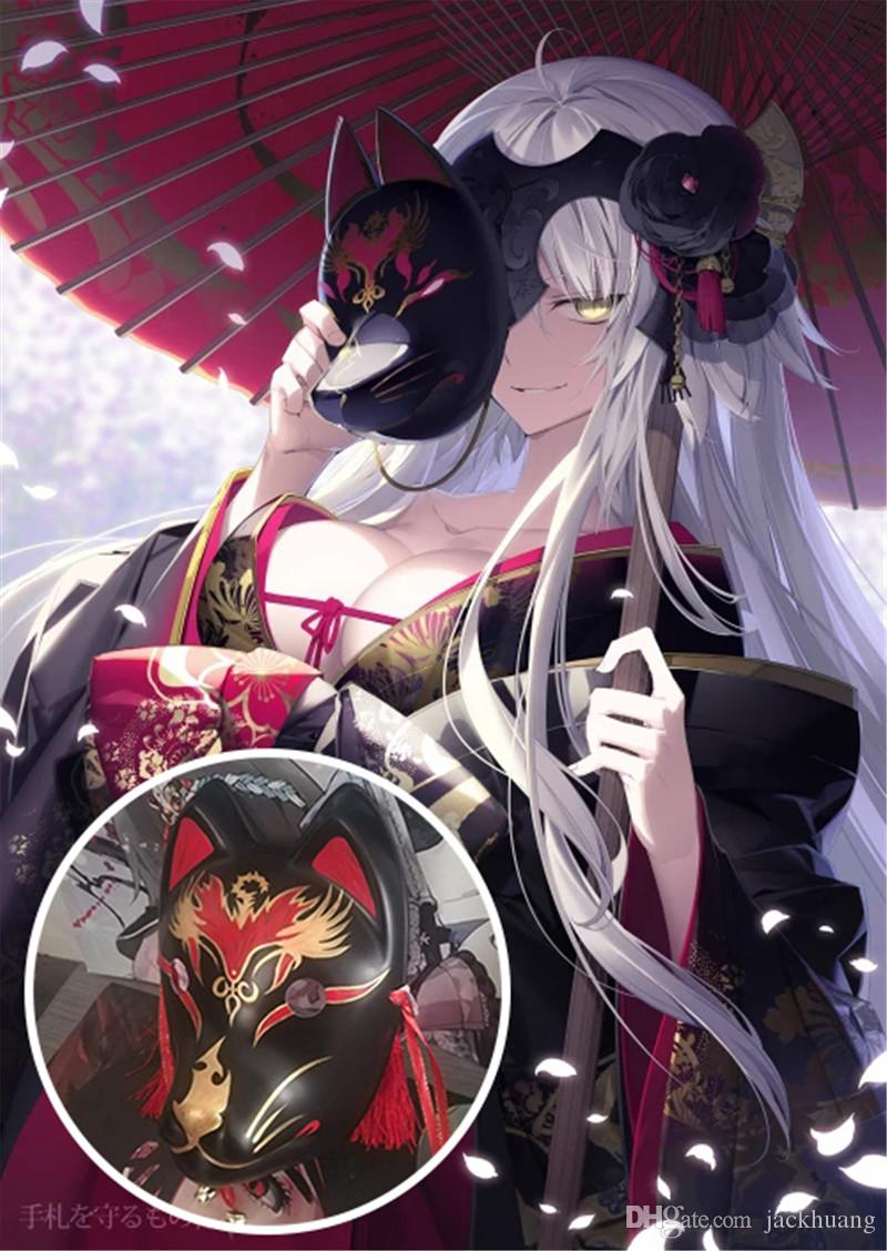 Fate Grand Order Mask Full Face Hand-Painted Japanese Kitsune Cosplay Fox Masks Halloween Cartoon Character Costumes
