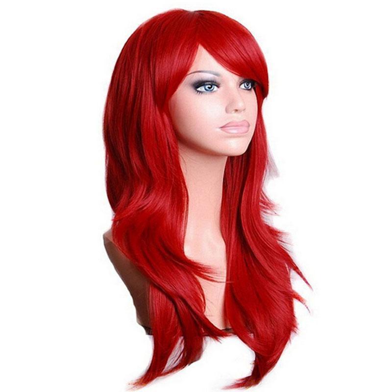 Longo Ondulado peruca cosplay Vermelho Preto Verde Rosa Roxo Azul Sliver Grey Loira Brown 70 Cm sintético perucas de cabelo