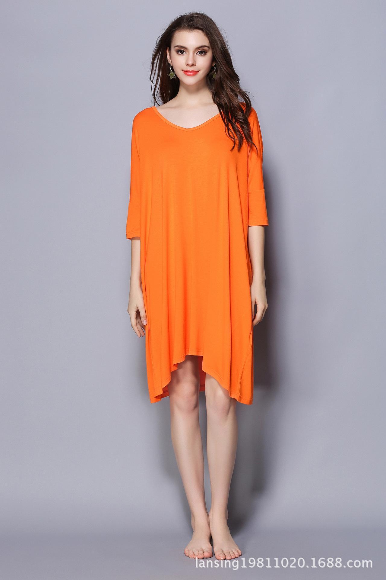 Nightdress spring and summer new medium and long T-shirt medium sleeve large size nightdress modal Pajama has fat plus size women Orange
