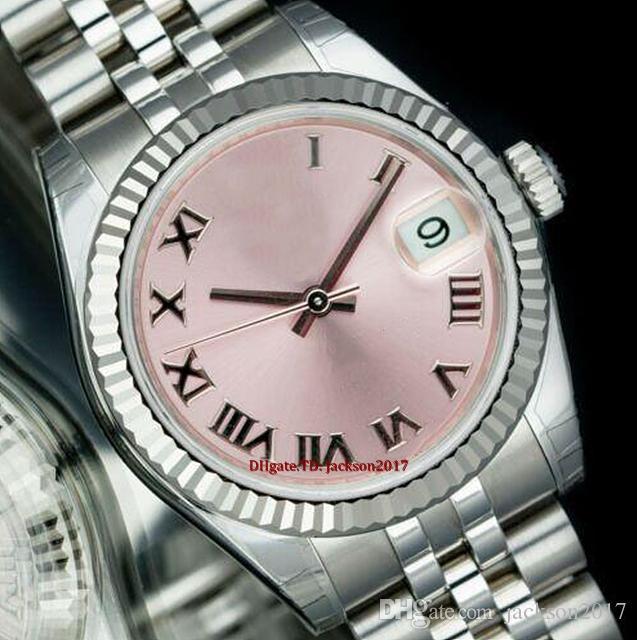 Noel hediyesi 8 stil Bayanlar saatler Paslanmaz Çelik 18K Beyaz Altın 178274 Otomatik 2813 pembe kadran Roma Sayısal 31mm