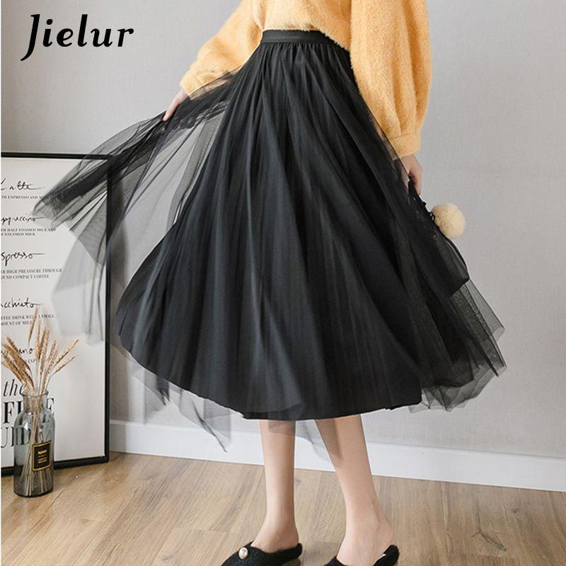 Coreano Mulheres Saias Moda Senhora elegante saia plissada Feminino Chic ouro veludo de malha Pure Color Preto Tulle Faldas S-XL