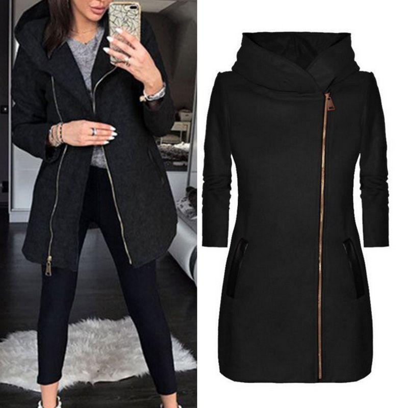 2019 abrigo de otoño largo Negro mujeres con cremallera manga larga con capucha chaquetas casuales caliente femenina delgada Outwear la ropa Bolsillos